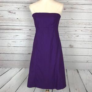 Gap Strapless Purple Stretch Dress Built In Bra